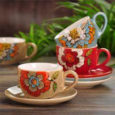 SaicleHome Vintage Handmade Ceramic Cups European Coffee Cup Set Mugs - Newchic Mobile