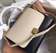 2016 Celine Stamped Trapeze Bags Outlet-Celine Stamped Trapeze in BLACK/Creamy/Apricot Calfskin Leather