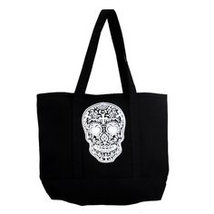 Purple Leopard Boutique - Large Sturdy Black Canvas Tote with White Day of the Dead Skull, $29.00 (http://www.purpleleopardboutique.com/large-sturdy-black-canvas-tote-with-white-day-of-the-dead-skull/)