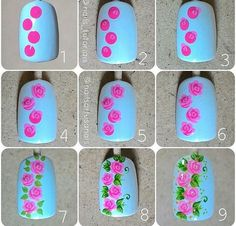 How to Make Floral Nail Art Nail art requires a steady hand and full concentration, but the result should be well worth the effort. This flower nail art is easy and pretty for spring, Nail Art Hacks, Nail Art Diy, Diy Nails, How To Nail Art, Rose Nail Art, Floral Nail Art, Nail Design Gold, Nails Design, Nail Art Designs