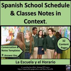 La escuela y el Horario School Schedule and Classes Notes in Context by Sra Ole Secondary Resources, Teacher Resources, Teacher Pay Teachers, Communication Activities, Interpersonal Communication, Spanish Lesson Plans, Spanish Lessons, Teaching French, Teaching Spanish