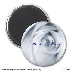 blue rose magnet Bride and Groom