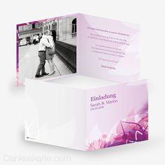 Hochzeitseinladung Pinke Versuchung 14.5 x 14.5 cm - Dankeskarte.com Pink, Polaroid Film, Wedding Inspiration, Thanks Card, Invitations, Cards, Pink Hair, Roses