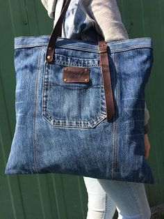 Most up-to-date Snap Shots Items similar to tote bag grocery bag reusable bag cotton bag tote bag on etsy Thoughts I enjoy Jeans ! And even more I want to sew my own, personal Jeans. Next Jeans Sew Along I am goin Denim Tote Bags, Denim Purse, Denim Jeans, Denim Bag Patterns, Denim Crafts, Reusable Grocery Bags, Shopper Bag, Handmade Bags, Handmade Leather
