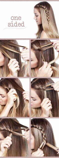 one sided braid hair-hair-hair-hair-hair Summer Hairstyles, Diy Hairstyles, Pretty Hairstyles, Wedding Hairstyles, School Hairstyles, Creative Hairstyles, Ladies Hairstyles, Modern Hairstyles, Everyday Hairstyles