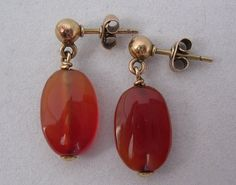 Vintage Carnelian Agate Earrings by athenasvintage on Etsy, £25.00