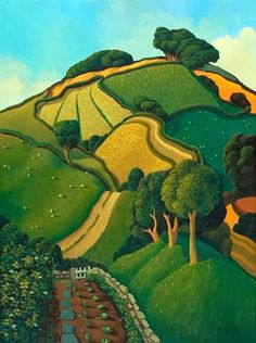 Jo March - Signed Limited Edition Prints and Art Prints - Red Rag British art gallery Landscape Art, Landscape Paintings, Arte Popular, Naive Art, Monuments, Oeuvre D'art, Les Oeuvres, Folk Art, Contemporary Art