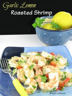 Garlic Lemon Roasted Shrimp. Super easy to prepare but fancy enough for a dinner party. This delicious recipe is on the table in less than 30 minutes. Shrimp Recipes, Fish Recipes, Paleo Recipes, Cooking Recipes, Cookbook Recipes, Delicious Recipes, Recipies, Fish Dishes, Seafood Dishes