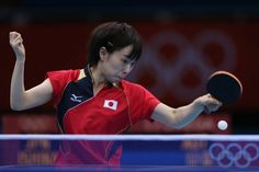 Olympics: Day Two - JULY 29: Kasumi Ishikawa of Japan plays a forehand in her Women's Singles Table Tennis third round match against Li Qiangbing of Austria on Day 2 of the London 2012 Olympic Games at ExCeL on July 29, 2012 in London, England. (Photo by Feng Li/Getty Images)