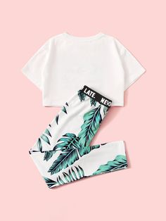 Girls Tropical Print Tee and Letter Waist Leggings Set Cute Lazy Outfits, Teenage Girl Outfits, Sporty Outfits, Mode Outfits, Simple Outfits, Outfits For Teens, Pretty Outfits, Stylish Outfits, Girls Fashion Clothes