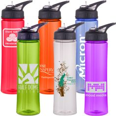 25oz BPA free translucent Tritan water bottle with screw on flip up spout/straw lid and molded in carry handle. One color/ one location imprint included. 4-6 spot colors maximum. 5 day regular production and 2 day rush available. 1st quarter special pricing reflected below.