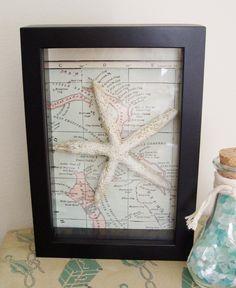 Starfish Framed Vintage Map Wall Decor Cottage Beach Nautical Ocean. $18.00, via Etsy.