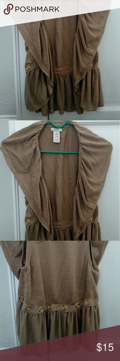 Gold vest Tan sweater vest with gold accents Cache Sweaters Cardigans