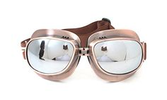 CRG Sports Vintage Aviator Pilot Style Motorcycle Cruiser Scooter Goggle T04 T04ST - Parent (Copper Frane Silver Lens)