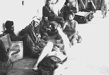 Former Cabanatuan POWs at a makeshift hospital in Talavera