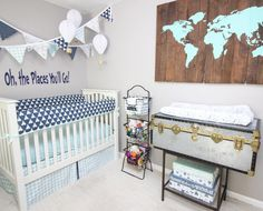 oh the places you will go sweet baby!  #baby #babybedding #adventurenursery #traveltheme #travelthemenursery #nursery #nurserybedding #crib #cribbedding
