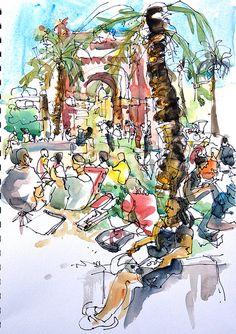 Sketchcrawl at Arc de Triomf, Barcelona   Flickr - Photo Sharing!