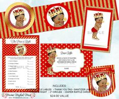 ♥ This is the Little Prince Package in Red & Gold - African American Skin Tone. You get digital party printables worth $24.00 if purchased separately. ►Package with Baby: https://www.etsy.com/listing/486409181/ ►Digital Papers: https://www.etsy.com/listing/477025798/ ►AA Prince Carriage: https://www.etsy.com/listing/490538749/ ►Matching Babies: https://www.etsy.com/listing/449288926/ https://www.etsy.com/listing/258649998/ https://www.etsy.com/listing/463060561/ ►Water Bottle Labels…