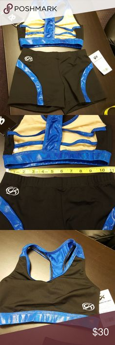 GK Cheer AS blue and black sport bra and brief NWT More samples sent to me since I am a gym owner  blue sparkle spandex insert. GK Cheer Intimates & Sleepwear Bras