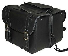 2pc Waterproof Black PVC Slanted Motorcycle Saddlebag Luggage Set Touring Travel