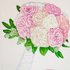 Watercolor wedding bouquet painting custom 8x10 by HarvestmoonFarm on Etsy. Wedding gift, anniversary gift