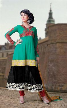 Stunning Faux Georgette Net Anarkali Suit