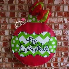 Red and Green Quatrefoil Ornament with Chevron and Polka Dots Christmas or Winter Door Hanger by Pink Brushstrokes on Etsy
