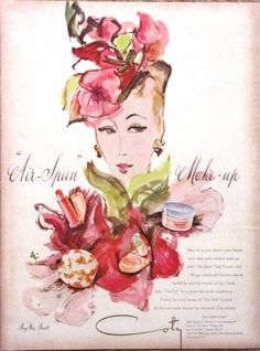 COTY 1944 Advertisement AD - Air Spun Make Up - Beautiful Woman & Colors ART #Coty