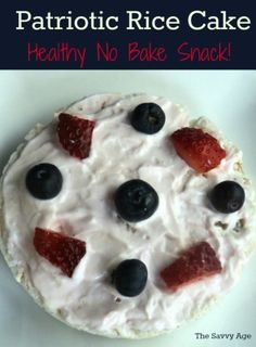 Easy no bake Patriotic Rice Cake recipe. Healthy snack for the summer red white and blue holidays!