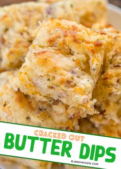 Cracked Out Butter Dips – biscuits loaded with cheddar, bacon and ranch! Only 8 simple ingredients! My Favorite Food, Favorite Recipes, Easy Biscuits, Dinner Entrees, Bread And Pastries, Side Recipes, Dinner Rolls, Clean Eating Snacks, Raves
