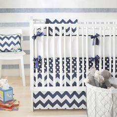 Ardent Navy Chevron Baby Bedding from PoshTots