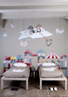 "Stencil ""Mural infantil"", by EstudioStencil (Spain) Deco Kids, Shared Bedrooms, Kids Room Design, Wall Design, Kid Spaces, Small Spaces, Kids Decor, Decor Ideas, Boy Room"
