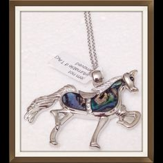 """Abalone Shell Horse Abalone Shell Horse accented with AAA Austrian crystals. 2"""" long X 1 1/2"""" high. Very nicely detailed. Jewelry Necklaces"""