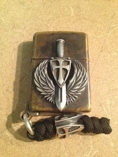 Steel Flame St. Michael Zippo w/ Silver Crusader Bead