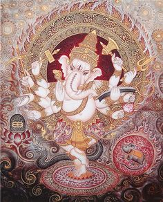 Ganesha, Remover of Obstacles, Lord of Success and New Beginnings, God of Wisdom and Wealth Ganesh Lord, Shri Ganesh, Ganesha Art, Hanuman, Kalamkari Painting, Tanjore Painting, Shiva Art, Hindu Art, Shiva Shakti