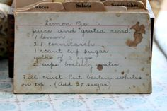 Vintage recipe for Lemon Pie - look at the stains on that recipe card!
