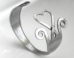 Fork bracelet Big stainless steel  heart by GiannasCreations