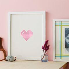 Washi tape framed pixelated heart