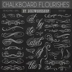 """Chalkboard flourishes clip art - """"Chalkboard Flourishes"""" clipart with chalkboard flourishes, ornaments, elements and sign Tattoo Lettering Styles, Chicano Lettering, Tattoo Design Drawings, Graffiti Lettering Fonts, Lettering Design, Tattoo Fonts Alphabet, Cursive Alphabet, Calligraphy Alphabet, Calligraphy Fonts"""