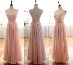 Blush Pink Backless Prom Dresses A Line Chiffon Prom Dress Long Bridesmaids Dress Simple Floor Length Prom Gown Evening Dress
