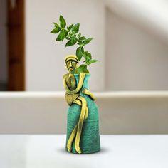 Custom sitting babla statue flower vase for decoration and gifting, Hand painted indoor planters, Terracotta flower statue, Table decor vase Wine Bottle Art, Glass Bottle Crafts, Vase Crafts, Mirror Crafts, Clay Crafts, Cement Art, Mural Art, Murals, Lotus Art