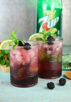 Easy Blackberry Mojitos Recipe with 7UP! Get the recipe and more at MissintheKitchen.com #ad #MixItUpALittle