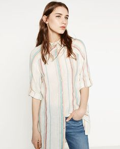 Image 2 of STRIPED LINEN TUNIC from Zara