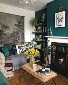 My Kitchen Renovation — Melanie Jade Design Creative, Colourful Living Spaces to Increase Productivity. Dark Green Living Room, Dark Living Rooms, My Living Room, Living Room Decor, Living Spaces, Living Room Color Schemes, Living Room Designs, Victorian Living Room, Victorian House Interiors