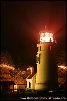 Umpqua River Lighthouse At Night Winchester Bay, Oregon