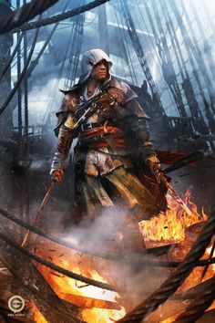 """pixalry: """"Assassin's Creed: Edward Kenway Fan Art - Created by Emil Goska"""" Assasin Creed Unity, Assassins Creed Black Flag, Assassins Creed Series, The Assassin, Assassin's Creed Edward Kenway, Assassin's Creed Black, Connor Kenway, Assassin's Creed Wallpaper, All Assassin's Creed"""