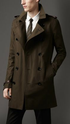 Love this: Midlength Leather Trim Gabardine Trench Coat @Lyst