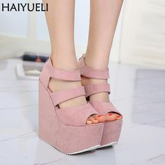 2d7d527c405 17cm High Heels Platform Wedges Shoes For Women Fashion Ladies Black High  Heel Shoes Summer Night Party Ladies High Heel Sandals