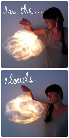 Beautiful cloud lantern for baby room Cloud Lantern, Lantern Diy, Cloud Lights, How To Make Lanterns, Ideias Diy, Diy Projects To Try, Diy Room Decor, Making Ideas, Baby Room