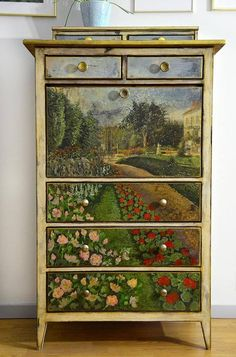 Print picture at Staples cut and découpage on to drawer fronts....chalk paint chip and antique glaze dresser....easy!
